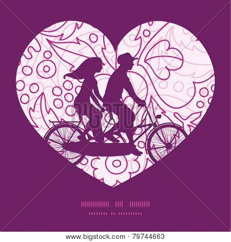 Vector pink flowers lineart couple on tandem bicycle heart silhouette frame pattern greeting card te