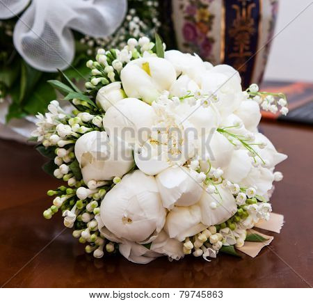 Bridal Bouquet With White Peonies.