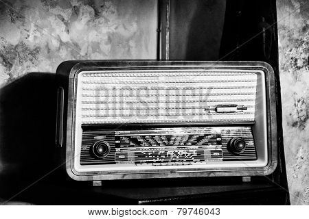 antique radio on vintage background