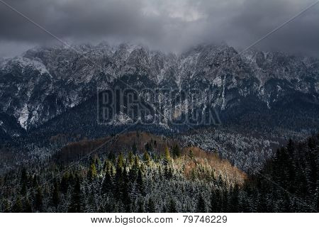 Alpine winter landscape in Transylvania, Romania, Europe