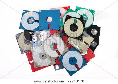 Colored damaged plastic floppy disc
