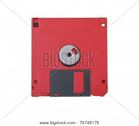 Red floppy disc isolated om white background