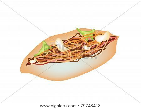 Delicious Yakisoba Pan On A White Background