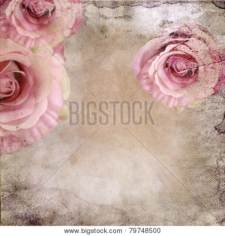 Vintage Background With Roses Over Retro Paper