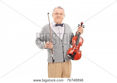 Mature violinist posing with his violin isolated on white background