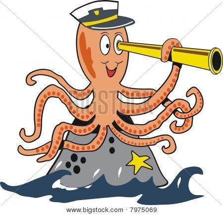 Funny octopus cartoon