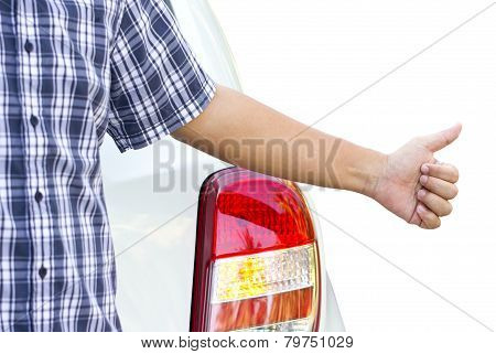 Asian Man's Hand Hitchhiking By A Broken Car.
