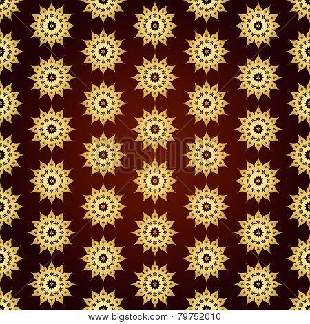 Gold Retro Flower Pattern On Pastel Background