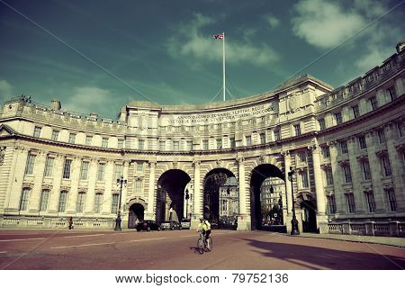 Admiralty Arch near Trafalgar Square in London as the entrance to The Mall.