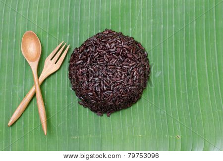 Rice Berry On Banana Leaf Background