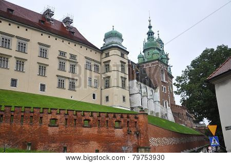 Wawel Castle and Church from Krakow in Poland