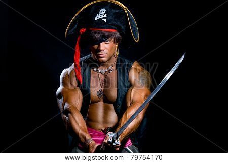 Portrait Of A Muscular Man In A Pirate Costume.