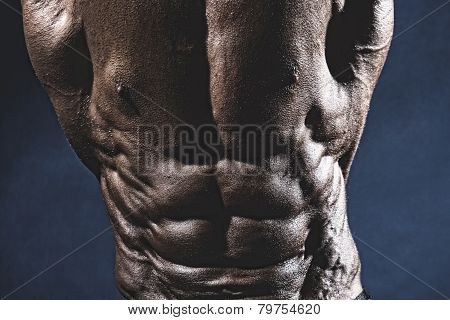 Close-up Of Abdominal Muscles Bodybuilder