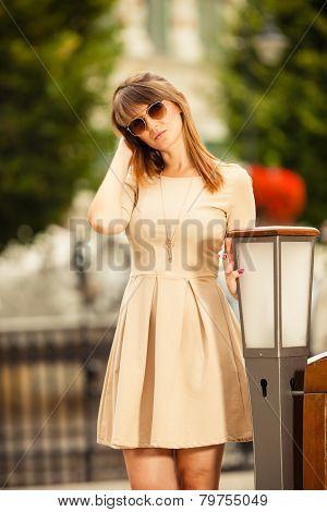 Fashion Woman Tourist Outdoor On City Street