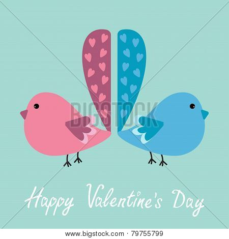 Two Birds With Heart Tails. Happy Valentines Day Card.