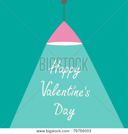 Pink Ceiling Light Lamp With Ray Of Ligh. Flat Design. Happy Val