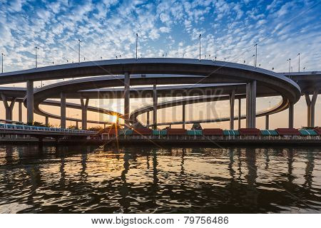 Sunset at Bhomipoon Bridge crosses the Chao Phraya River