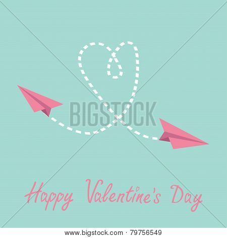 Two Flying  Paper Planes. Heart In The Sky. Happy Valentines Day