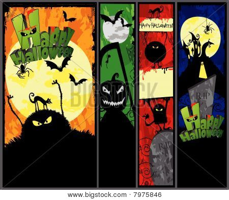 Set of 4 Halloween Banners