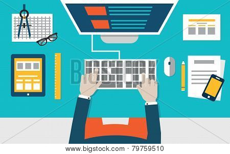 Vector Flat Illustration Of Process Coding And Programming Mobile Applications For Devices. Design A