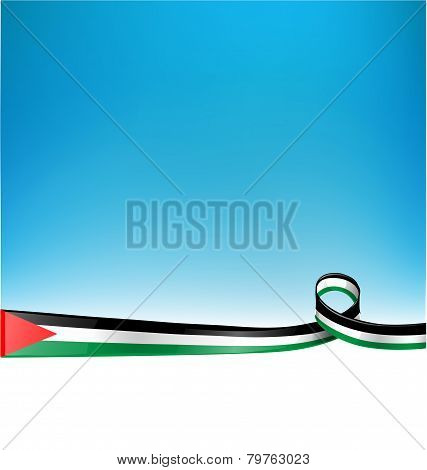 Palestine Flag On Blue Sky Background