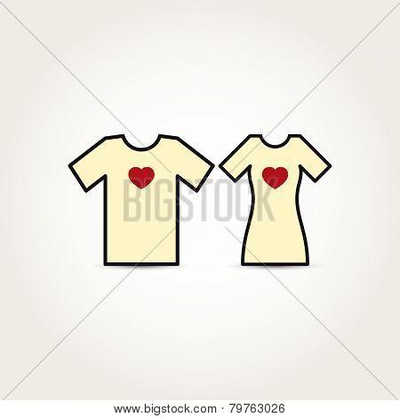 Vector Love Heart Couple Shirt