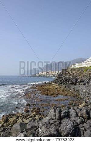Tenerife Coastline From Arena Beach Towards Gigantes Cliffs, Canary Islands.