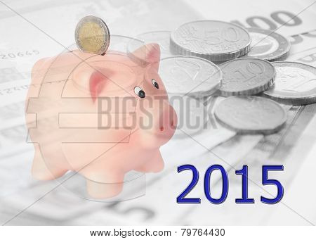Piggy Bank With 2015 And Euro Symbol