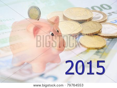 Piggy Bank With 2015 And Euro Background