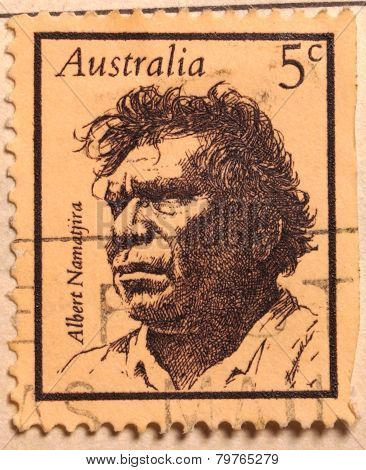 Albert Namatjira on Australian stamp.