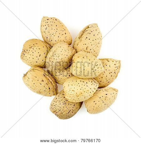 Pile Of Natural Unshelled Almonds On White