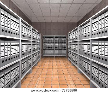 Rows Of Folders With Documents Are On The Shelves.