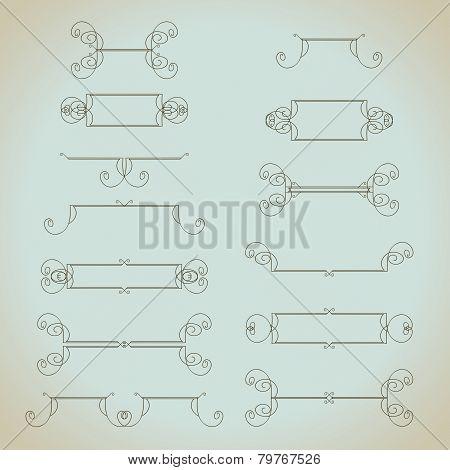Hand-drawn vintage calligraphic design elements set