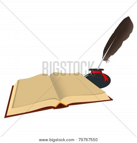The Open Book, Inkwell With A Feather. Isolated