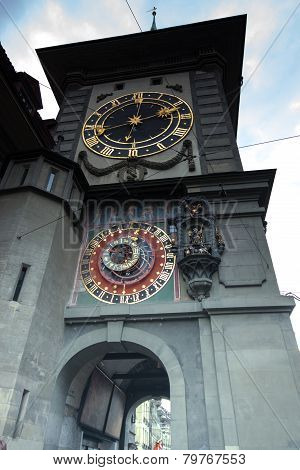 Medieval Zytglogge Clock Tower On Kramgasse Street In Bern
