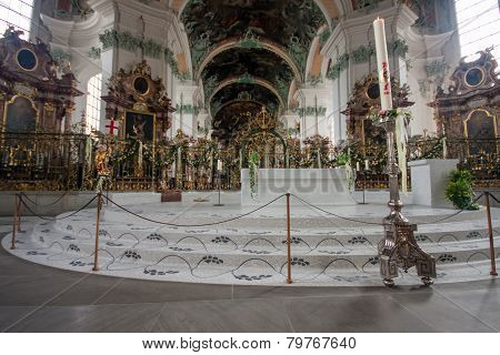 St. Gallen, Switzerland - April 22, 2014: Interior  Abbey Of Saint Gall In St. Gallen On April 22, 2