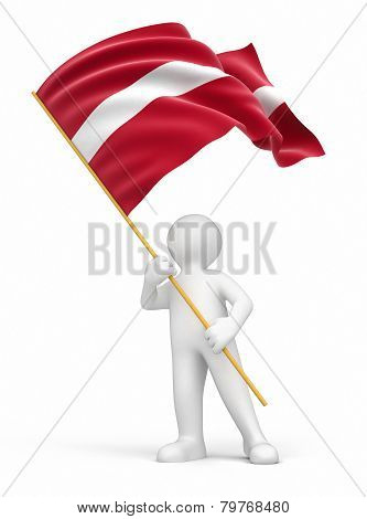 Man and Latvian flag (clipping path included)