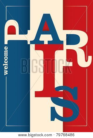 Paris poster with typography. Vector illustration.