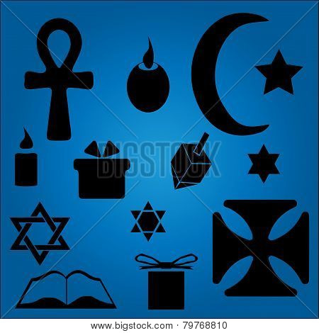 Hanukkah Symbols Over Blue