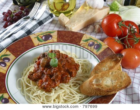 pasta dish with elk meat sauce