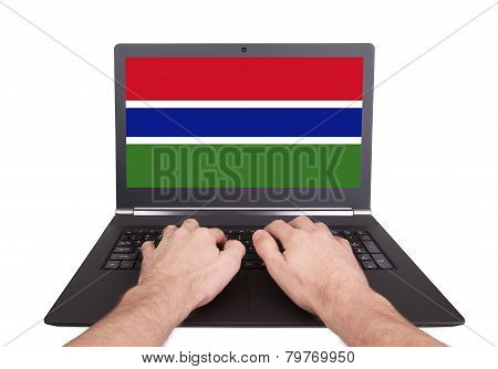Hands Working On Laptop, Gambia