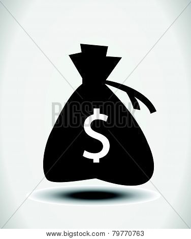 Money icon with bag, vector.