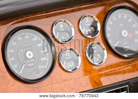 Dashboard Detail Of Vintage Car.