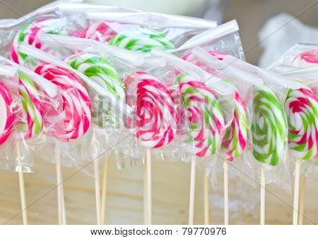 Colorful Lollipops In Plastic Wrap.