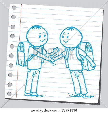 Schoolkids shaking hands