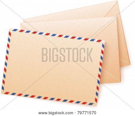 Craft paper vector envelops