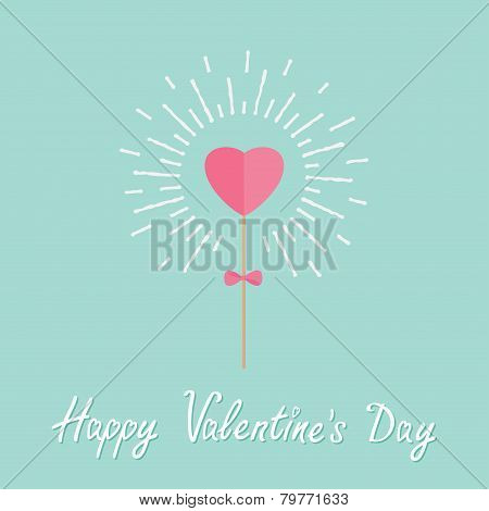 Heart On The Stick With Bow Shining Light Effect Word Love. Flat Design Happy Valentines Day