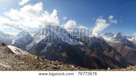 Landscape Of Mountains Caucasus Region In Russia