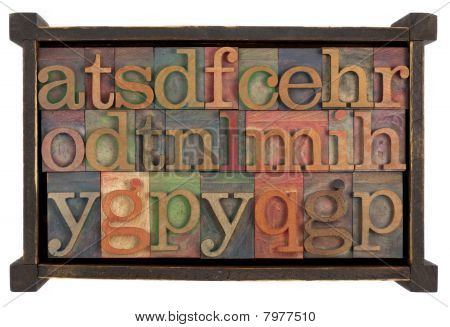 Alphabet In Rustic Wooden Box