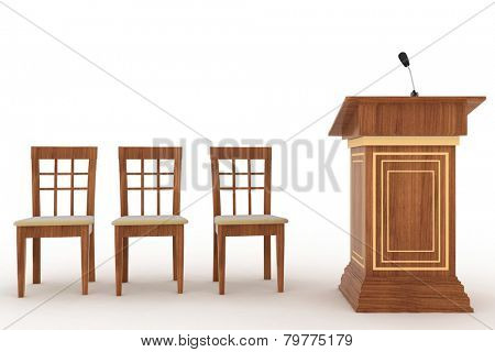 Wooden Rostrum Stand with Microphone and three chairs on a white background